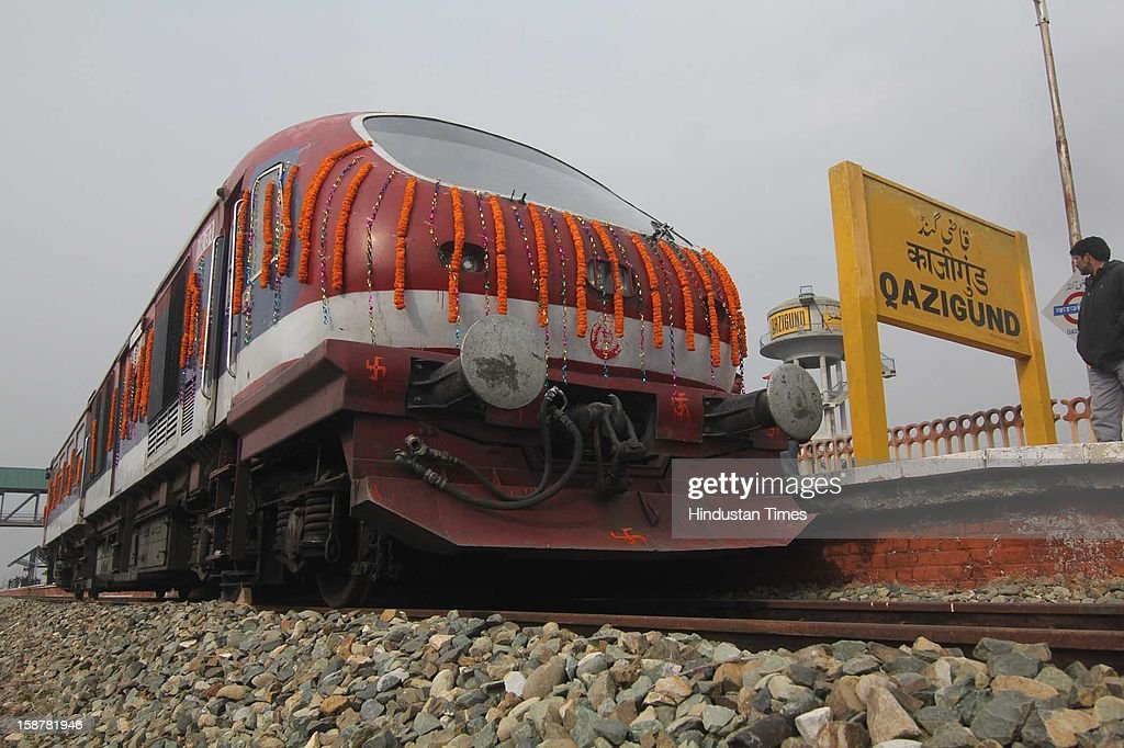 Engine at Qazigund railway station on Pir Panjal tunnel ready to link Kashmir valley through Qazigund-Banihal railway line, on December 27, 2012 in Srinagar, India. Qazigund-Banihal link is the 11.21 km tunnel, longest railway tunnel in India, which will reduce the distance between the two towns by 50 per cent. Train services between Banihal and Kashmir Valley will start in February or March next year while the entire railway project connecting the Valley with the rest of the country will be completed by 2017.