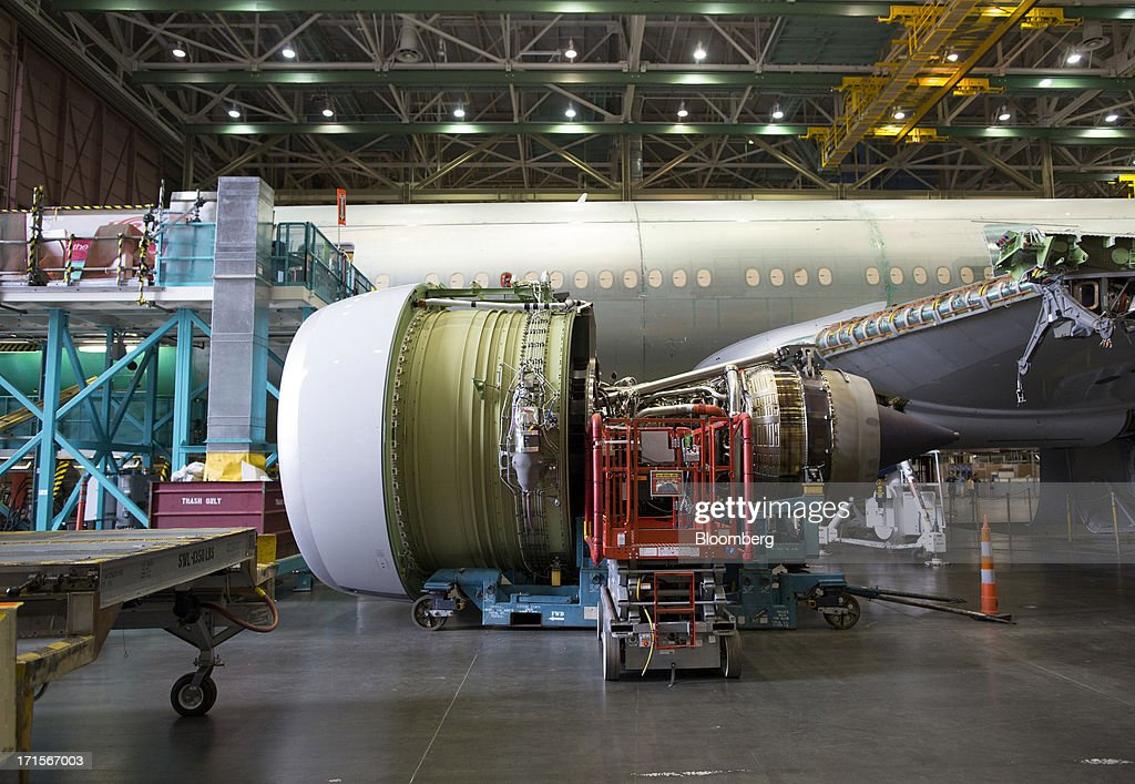 A GE-90 engine awaits installation on a Boeing Co. 777 airplane at the company's facility in Everett, Washington, U.S., on Tuesday, June 25, 2013. Boeing Co. uses the Automated Spray Method (ASM), which consists of a robot with two guns that applies two paints at different thicknesses, to efficiently paint the wings of the popular 777 airplanes. Photographer: Mike Kane/Bloomberg via Getty Images