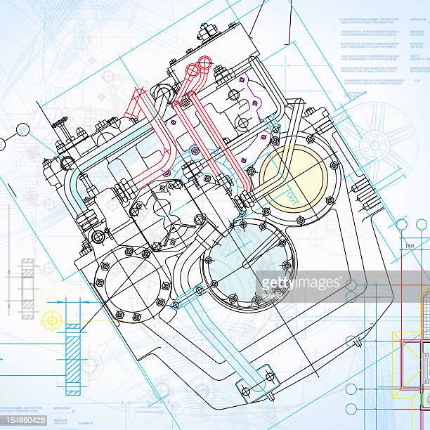 Engine Blueprint-Manufacture Industry Design Concept