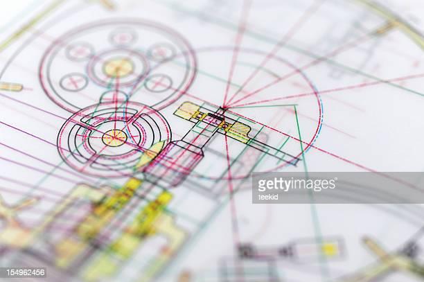 Motor Blueprint-Herstellung Industrie-Design-Konzept