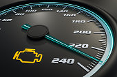 Engine check light on car dashboard. 3D rendered illustration.
