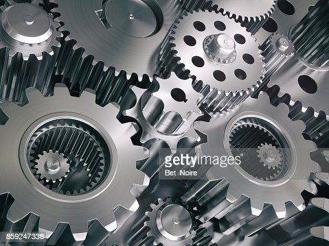 Engine gears wheels and cogwheels. Industrial background. : Stock Photo