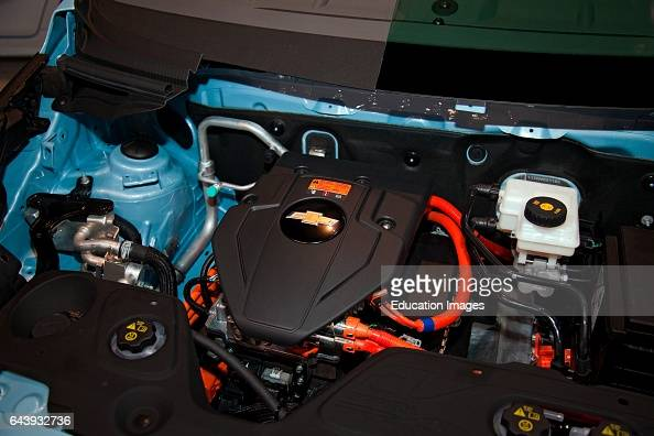 Engine in cutaway of the 2013 Chevy Spark New 2013 Electric and Hybrid Green cars are featured at the Los Angeles Auto show on November 29 2012 Los...