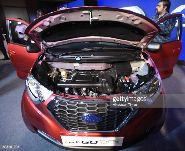 Engine of new Datsun RediGo with one litre petrol engine on display during its launch on July 26 2017 in New Delhi India New Datsun rediGo will have...