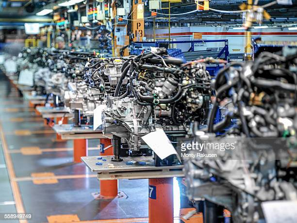 Engine production line in car factory
