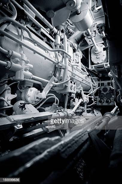 Engine room in a vintage nautical vessel