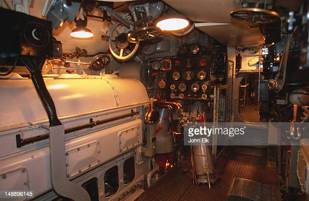 Engine room of Pamapanito Balao Class submarine at Maritime National Historic Park.