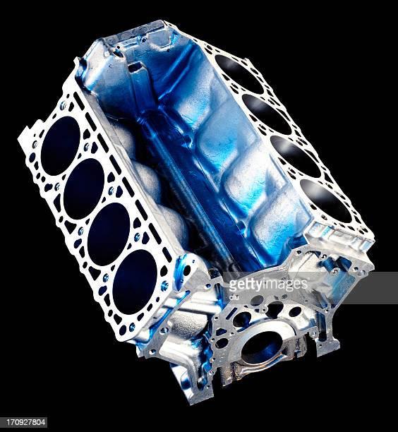 Engine V8 cylinder on black
