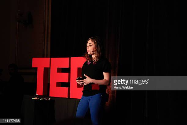 Engineer and founder of LittleBits Ayah Bdeir speaks during TED at SXSW at The Driskill Hotel on March 11 2012 in Austin Texas