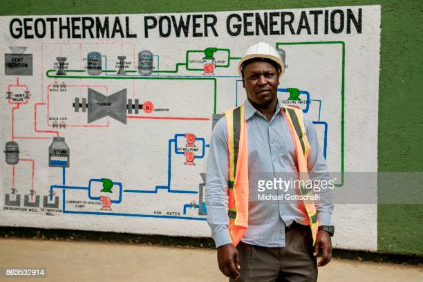 A engineer at environmentally friendly and renewable energy generation in the KenGen or Kenya General Energy Olkaria geothermal power station IV in...