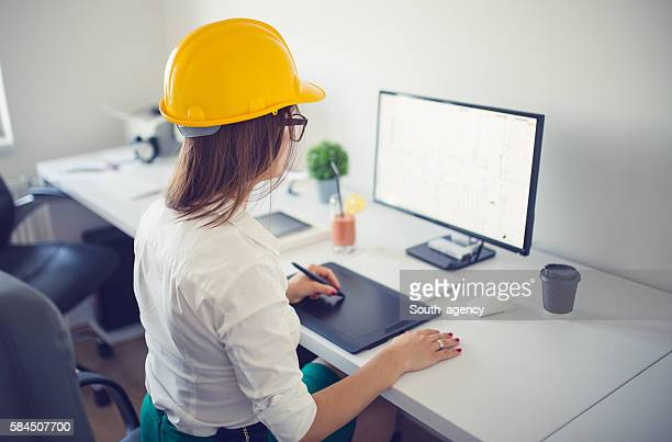 Engineer girl at the office