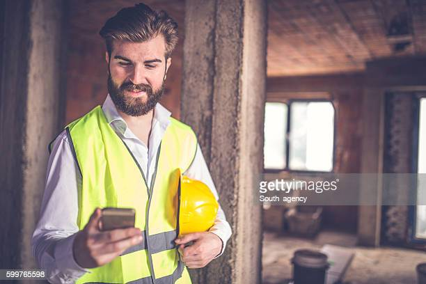 Engineer man at the construction site