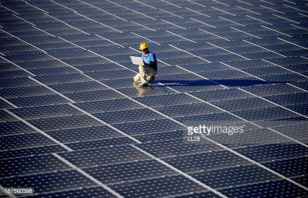 Engineer on a solar power station