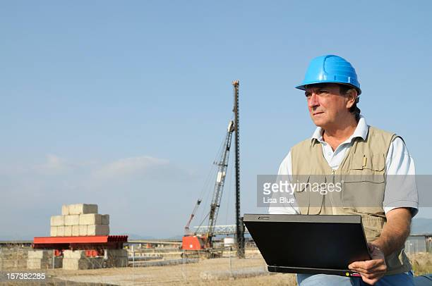 Engineer Planning PC Highway Construction Site.Copy Space