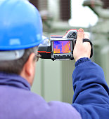 Thermal imaging equipment with thermal infrared camera.