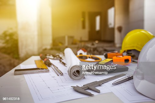 Engineering diagram blueprint paper drafting project sketch architectural. industrial drawing detail and several drawing tools : Stock Photo