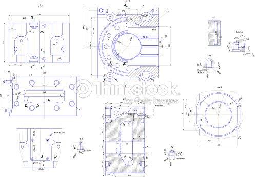 engineering drawing of industrial equipment stock photo thinkstock