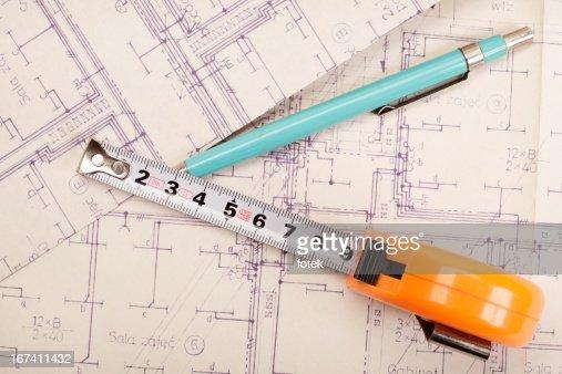 Engineering electricity blueprint : Stockfoto