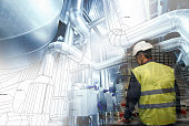 engineering man working on power plant as operator against drawing combined with picture