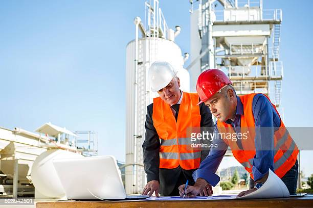 Engineers at industrial facility