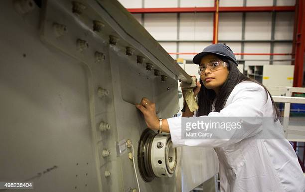 Engineers conduct a fatigue test on part of a Airbus A380 wing on a test rig at the Airbus aircraft manufacturer's Filton site on November 19 2015 in...