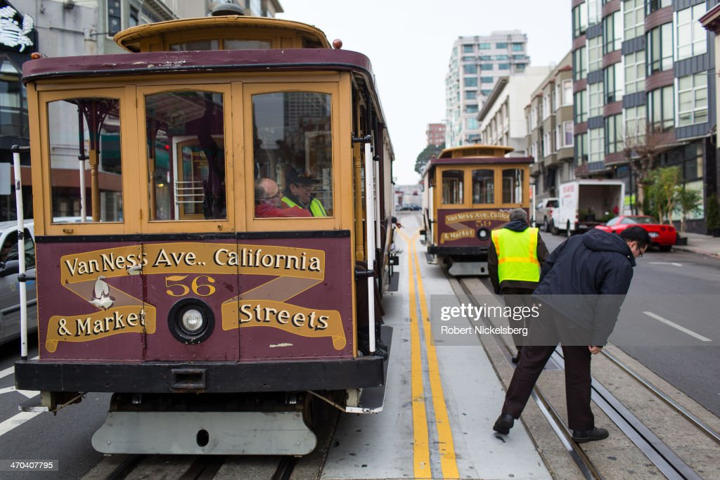 Engineers for the San Francisco cable car operation check the track and cable power lines January 7, 2014 in downtown San Francisco, California. The city's first cable car was tested in 1873.