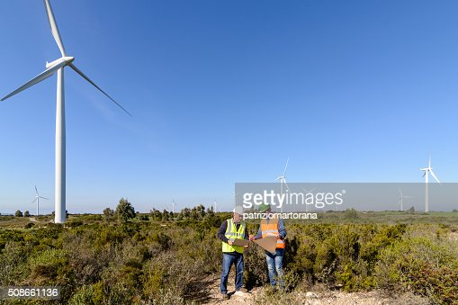 Engineers of Wind Turbine : Stock Photo