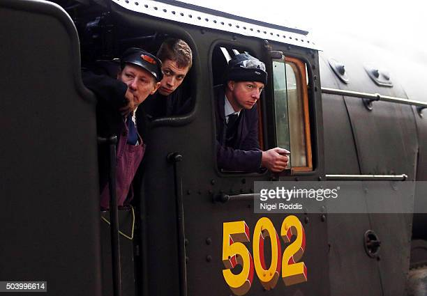 Engineers on The Flying Scotsman during a test run along the East Lancashire line for the first time in ten years on January 8 2016 in Bury England...