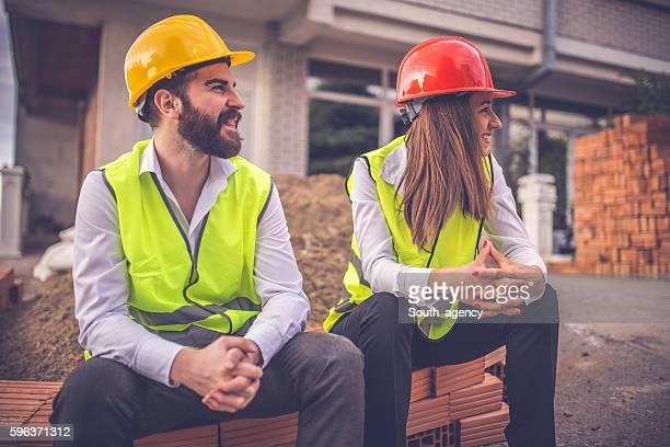 Engineers taking a break from work