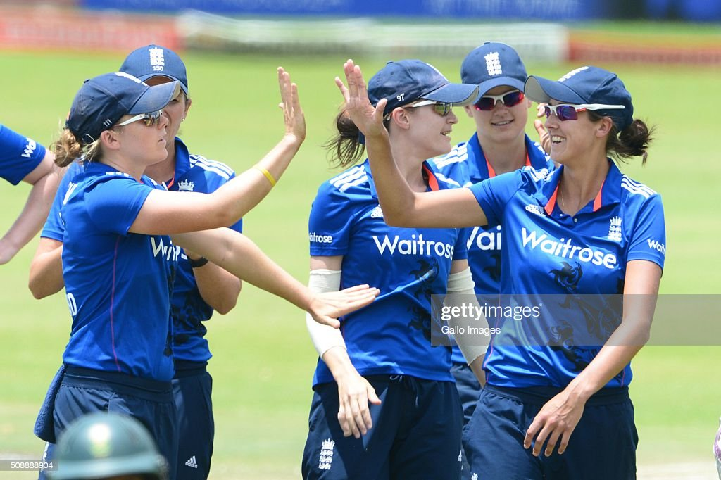 Englad celebrate the wicket of Mignon du Preez of South Africa during the One Day International match between South African Women and England Women at Willowmoore Park on February 07, 2016 in Benoni, South Africa.