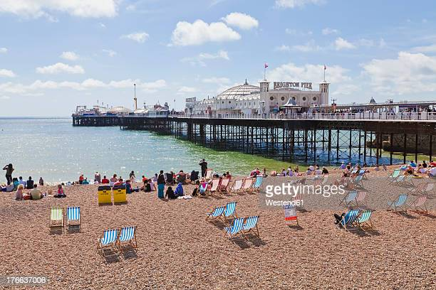 Engladn, Sussex, Brighton, View of beach at Brighton Pier