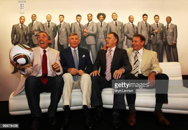 England 1966 Legends Gordon Banks Martin Peters Sir Geoff Hurst and Roger Hunt talk to the media during the Marks Spencer England World Cup Suit...