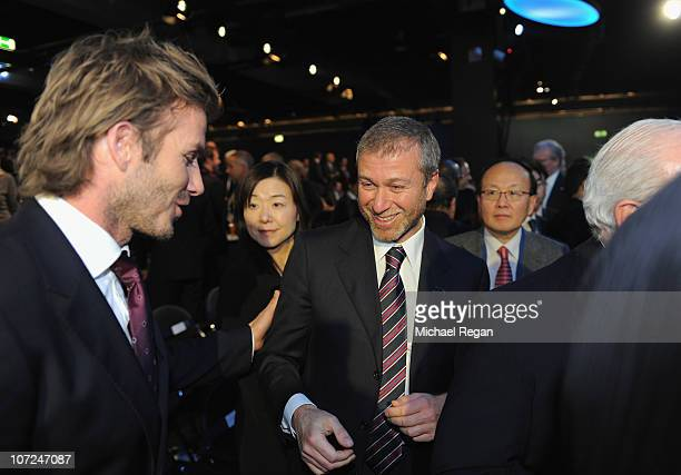 England 2018 Ambassador David Beckham congratulates Roman Abramovich of the winning Russia bid during the FIFA World Cup 2018 2022 Host Announcement...