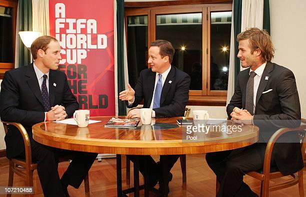 England 2018 Bid Ambassador David Beckham Prince William and British Prime Minister David Cameron meet in Hotel Steigenberger two days ahead of the...