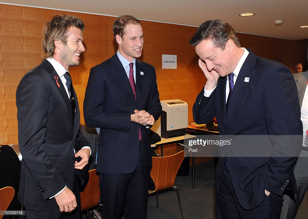 England 2018 Bid Ambassador <a gi-track='captionPersonalityLinkClicked' href=/galleries/search?phrase=David+Beckham&family=editorial&specificpeople=158480 ng-click='$event.stopPropagation()'>David Beckham</a>, <a gi-track='captionPersonalityLinkClicked' href=/galleries/search?phrase=Prince+William&family=editorial&specificpeople=178205 ng-click='$event.stopPropagation()'>Prince William</a> and British Prime Minister <a gi-track='captionPersonalityLinkClicked' href=/galleries/search?phrase=David+Cameron+-+Politician&family=editorial&specificpeople=227076 ng-click='$event.stopPropagation()'>David Cameron</a> during a reception at the Steigenberger hotel a day before the FIFA 2018 and 2022 World Cup Bid Announcement on December 1, 2010.