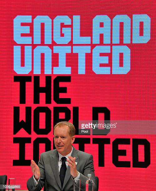 England 2018 CEO Andy Anson attends a press conference during the FIFA Inspection Visit for the England 2018 World Cup Bid at Manchester Central...