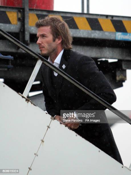 England 2018 Vice President David Beckham boards a British Airways flight to Zurich at Heathrow Airport London