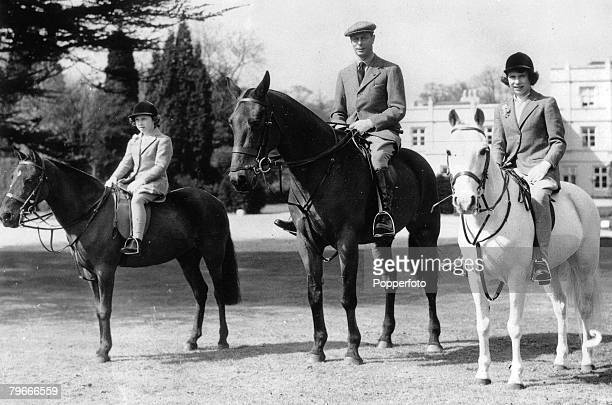 England 21st April King George VI out riding his horse with his daughters Princess Elizabeth later Queen Elizabeth II and Princess Margaret in...