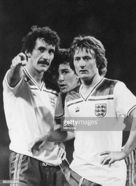 England 40 Norway World Cup Qualifier Wembley Stadium Wednesday 10th September 1980 Terry McDermott pictured with Bryan Robson and Eric Gates 1982...