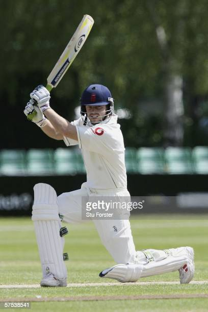 England 'A' batsman Ed Joyce square cuts a ball to the boundary during the second day of the match between England'A' and Sri Lanka at New Road on...