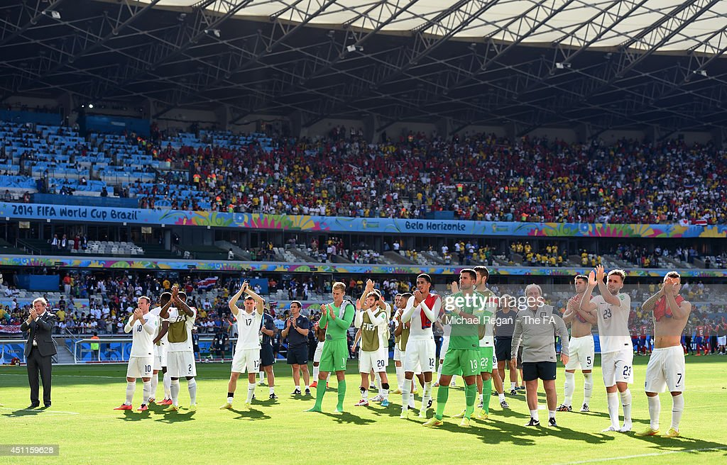 England acknowledge the fans after a 0-0 draw during the 2014 FIFA World Cup Brazil Group D match between Costa Rica and England at Estadio Mineirao on June 24, 2014 in Belo Horizonte, Brazil.