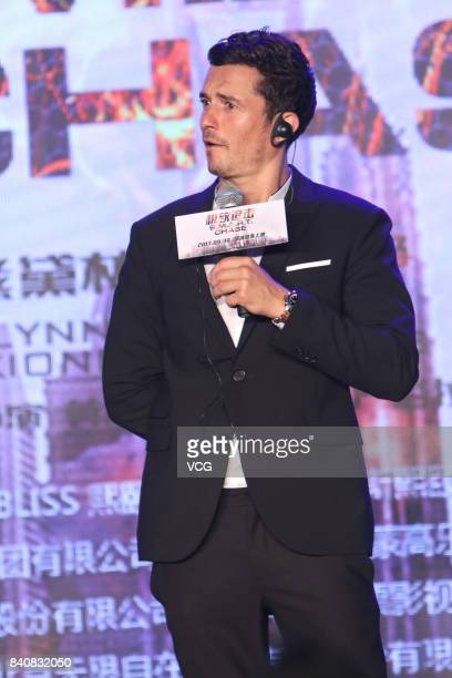 England actor Orlando Bloom attends the press conference of film 'SMART Chase' on August 30 2017 in Beijing China