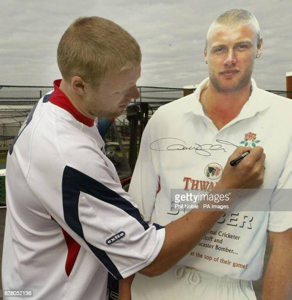 England all rounder Andrew Flintoff signs a lifesize cut out of himself Flintoff helped launch the start of a new employee bonus scheme at Thwaites...