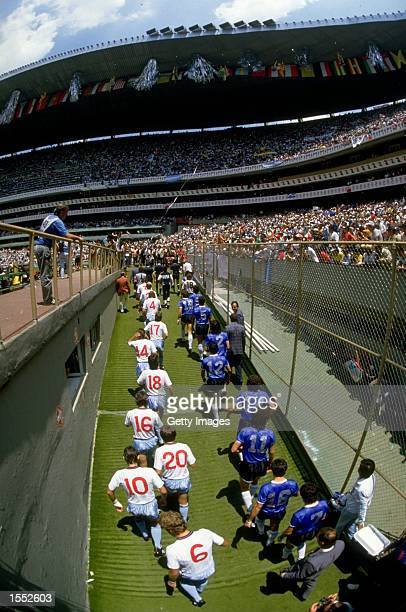 England and Argentina walk out for the World Cup match played in Mexico Mandatory Credit Allsport UK /Allsport