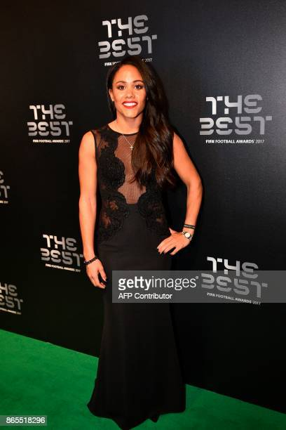 England and Arsenal Women's football player Alex Scott poses as she arrives for The Best FIFA Football Awards ceremony on October 23 2017 in London /...