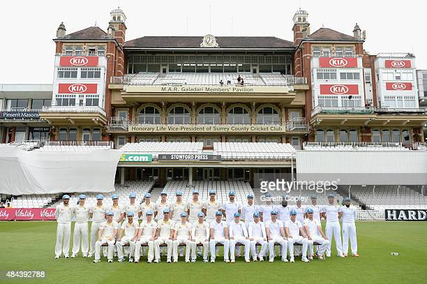 England and Australia pose for team photograph wearing blue caps to promote Cricket United Day ahead of the 5th Investec Ashes Test match between...