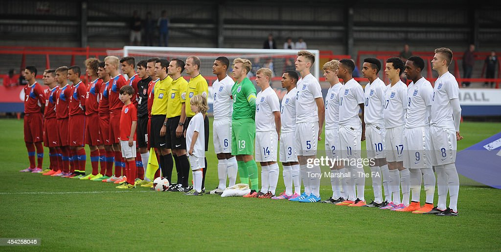 England and Czech Republic line up for the National Anthems during the Under 17 International match between England U17 and Czech Republic U17 at Aggborough Stadium on August 27, 2014 in Kidderminster, England.