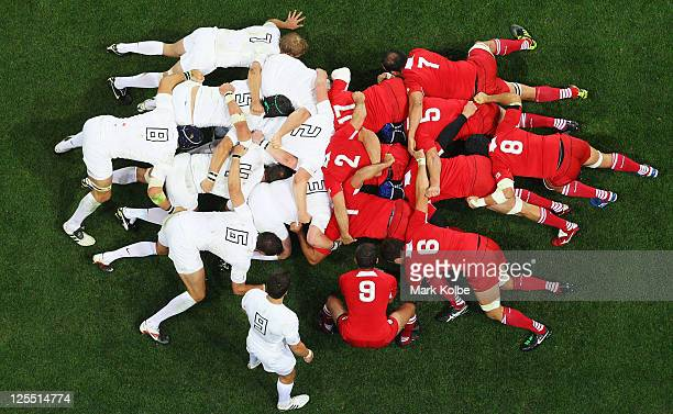 England and Georgia pack down for a scrum during the IRB 2011 Rugby World Cup Pool B match between England and Georgia at Otago Stadium on September...