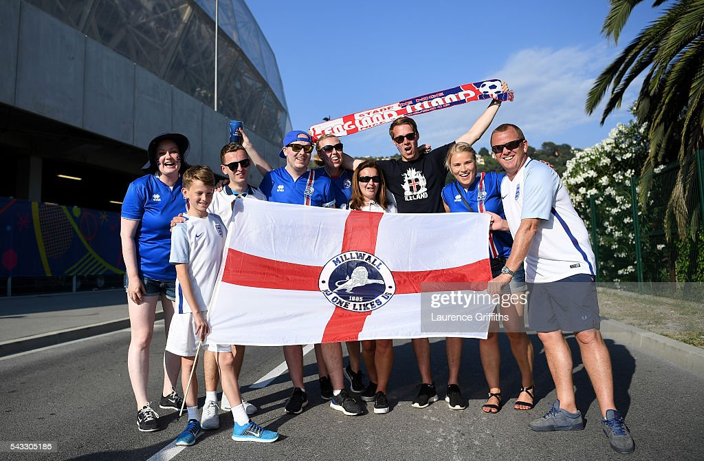 England and Iceland fans pose for photographs on their way to the stadium prior to the UEFA EURO 2016 round of 16 match between England and Iceland at Allianz Riviera Stadium on June 27, 2016 in Nice, France.