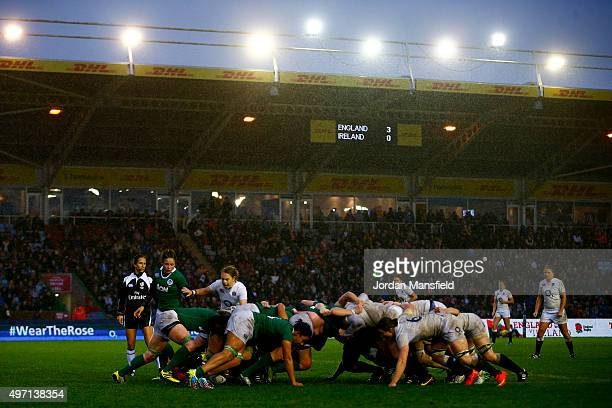 England and Ireland scrum during the Women's International match between England v Ireland at Twickenham Stoop on November 14 2015 in London England